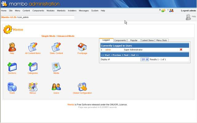Mambo is a program specially designed for administering and managing a