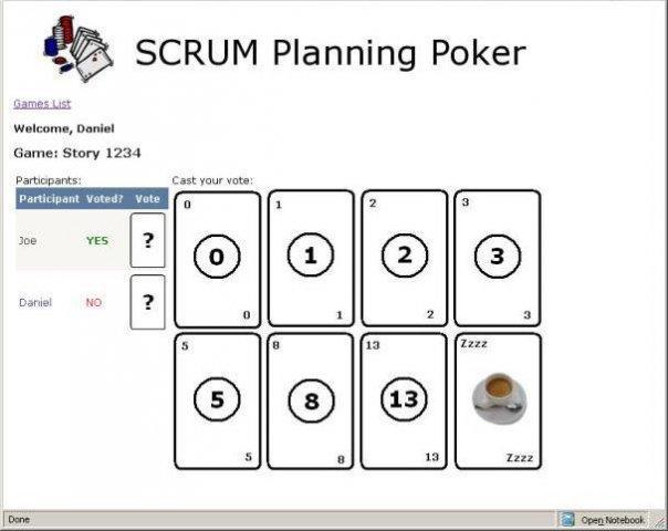 scrum planning poker    wiki    home