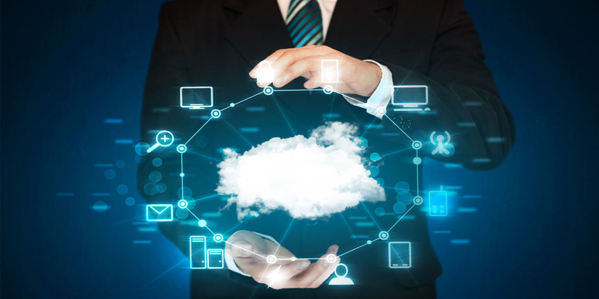 cloud concept with servers desktops and laptops