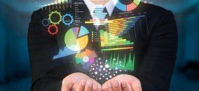 businessman holding data visualized concept