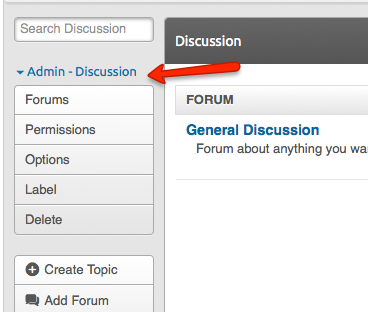 Admin sidebar for discussion forums