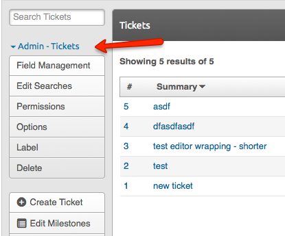 Admin sidebar of tickets tool