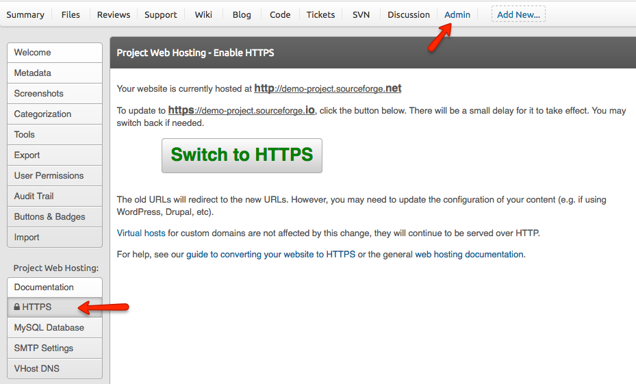 SourceForge Project Web HTTPS