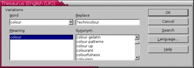 openoffice displaying entry for colour.