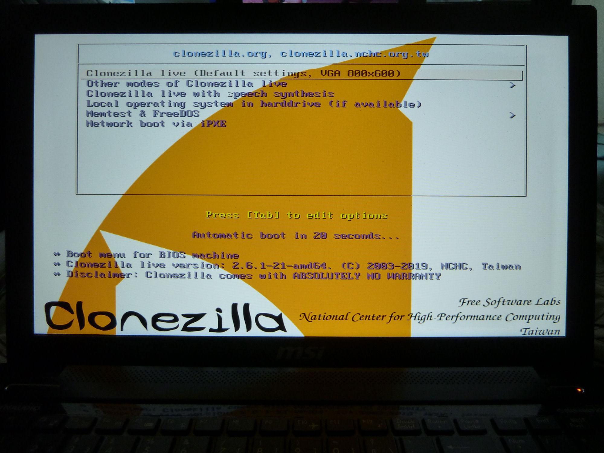 Clonezilla / Bugs / #322 language choose problem Clonezilla