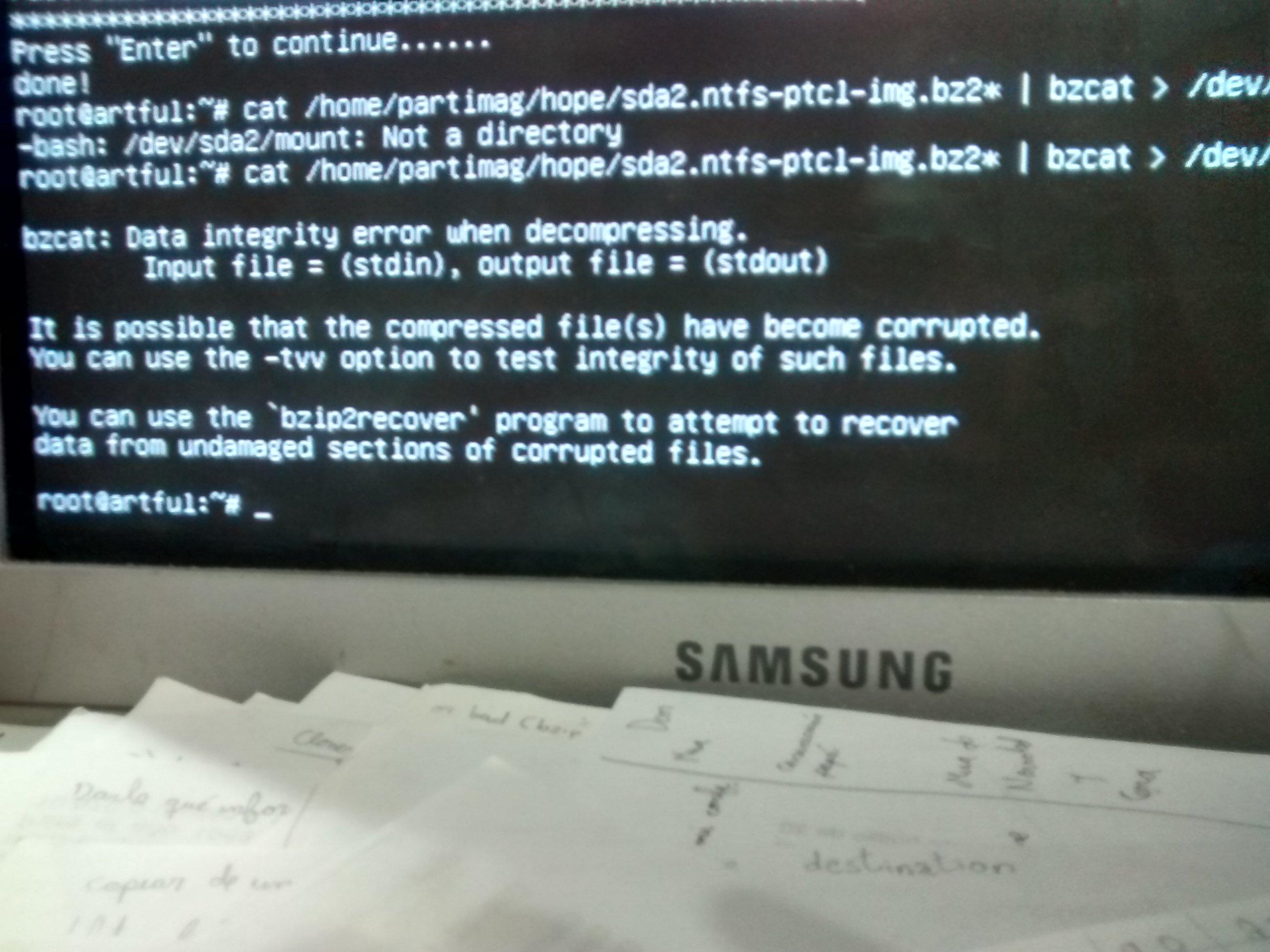 Clonezilla / Discussion / Clonezilla live: Fail to restore a