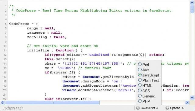 CodePress  web-based source code editor