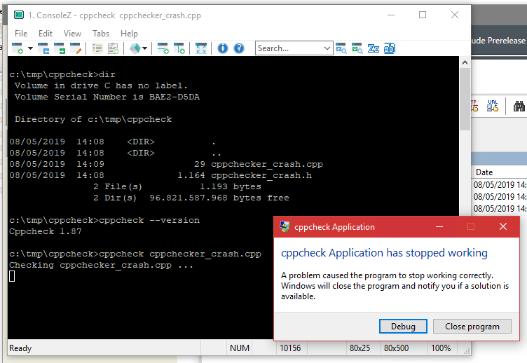 cppcheck / Discussion / Development:cppcheck exe crashes