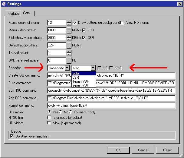 DVDStyler / Discussion / Help:ffmpeg-vbr or internal