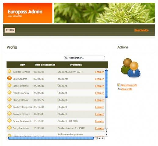 Europass Admin, Listing and search