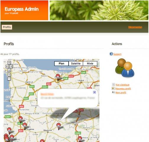 Europass Admin, Google Map integration