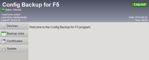 Config Backup for F5 / Documentation / User Guide 3 1