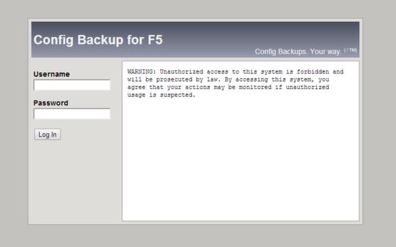 Config Backup for F5 / Documentation / User Guide