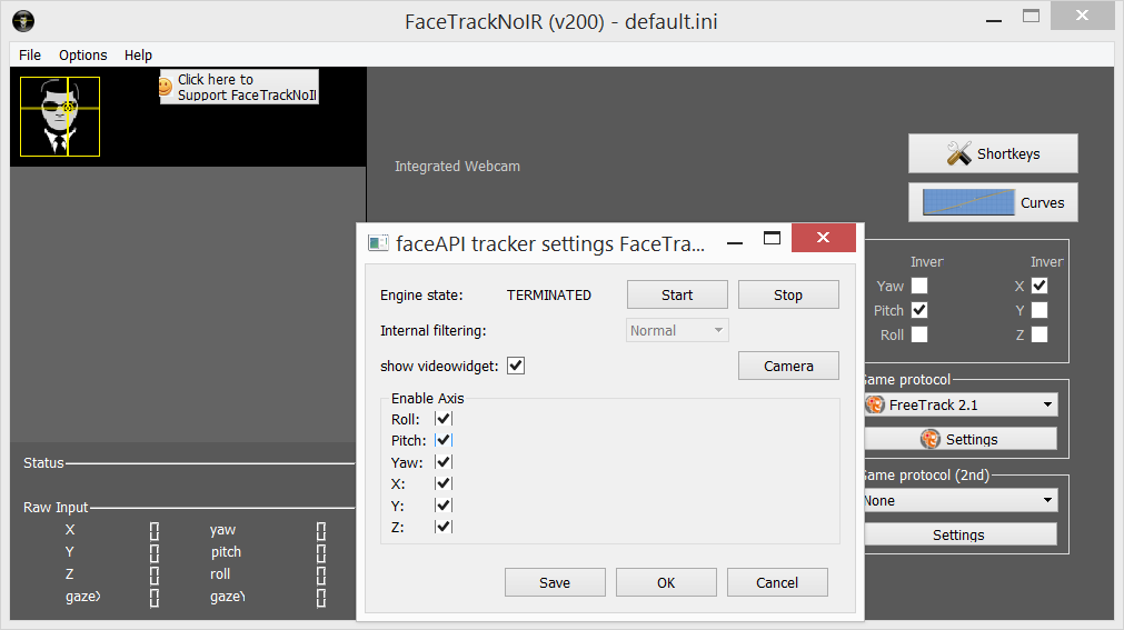 facetracknoir / Discussion / Help:Can't get FaceTrackerNoIR v200 to work