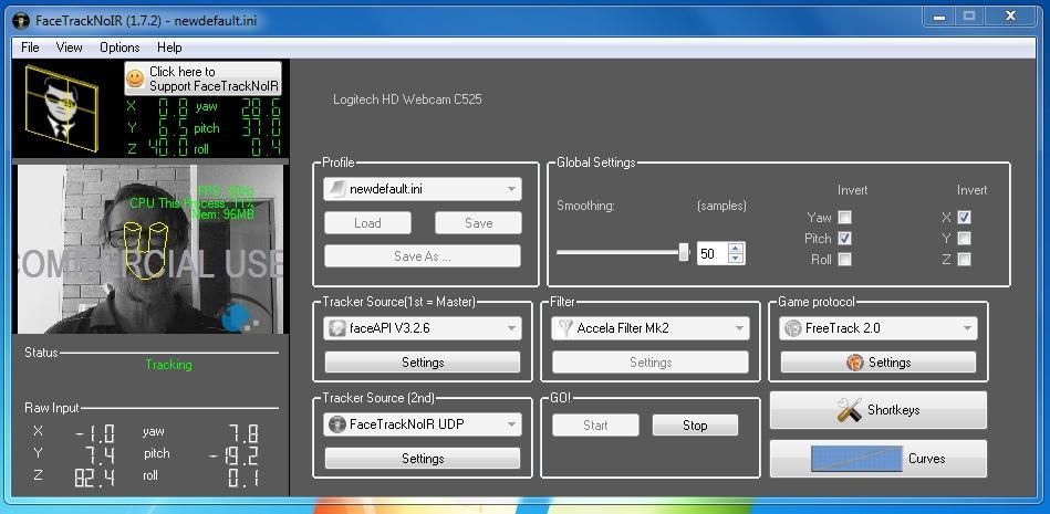 facetracknoir / Discussion / Help:FTnIR detects webcam, but has no ...