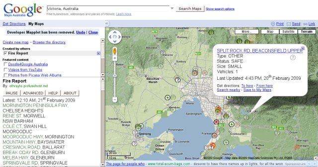 Screenshot: Mapplet client (BETA) just before submision to Google.