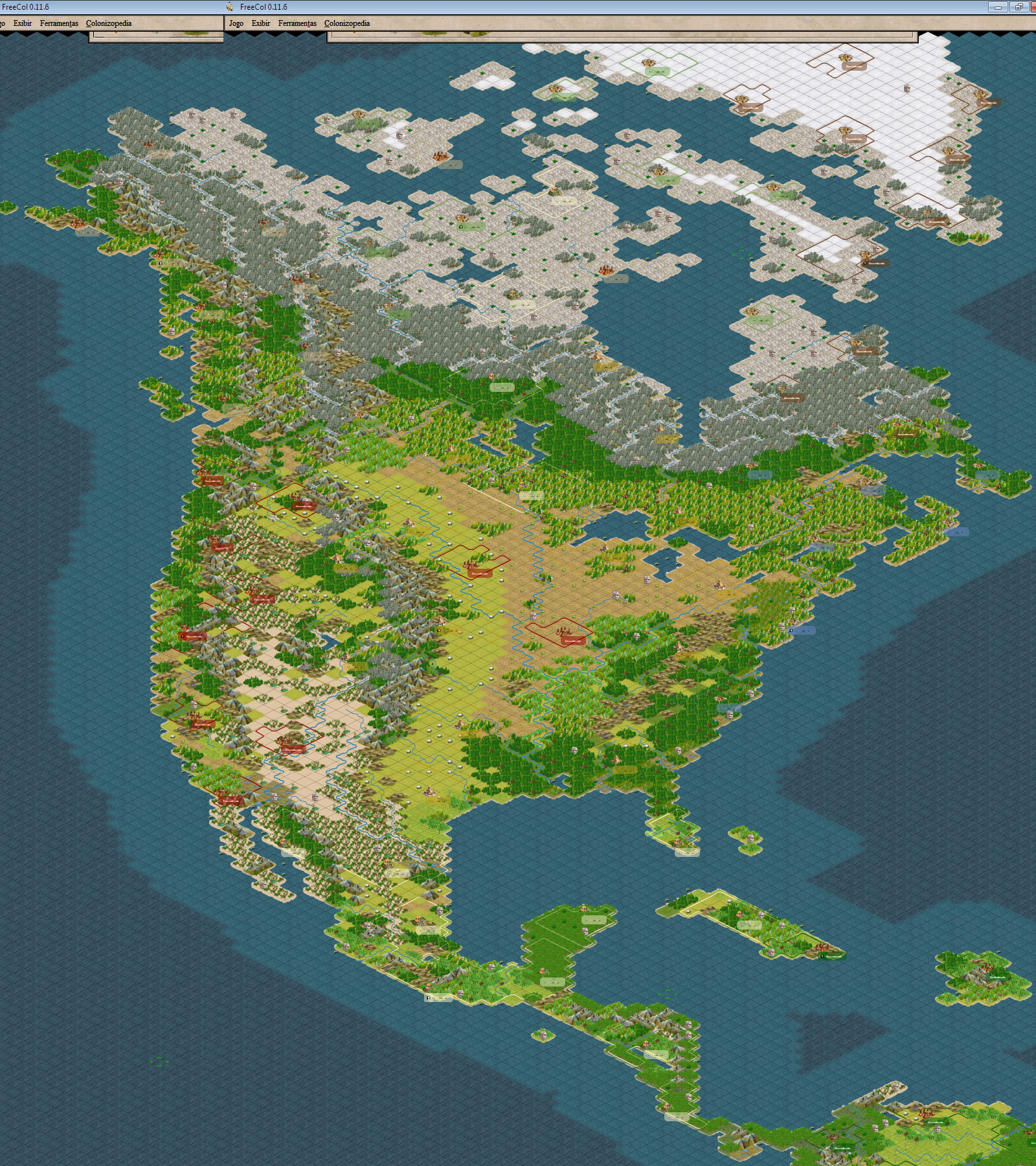 Full Map Of America.Freecol Discussion Freecol North America Map By Euzimar