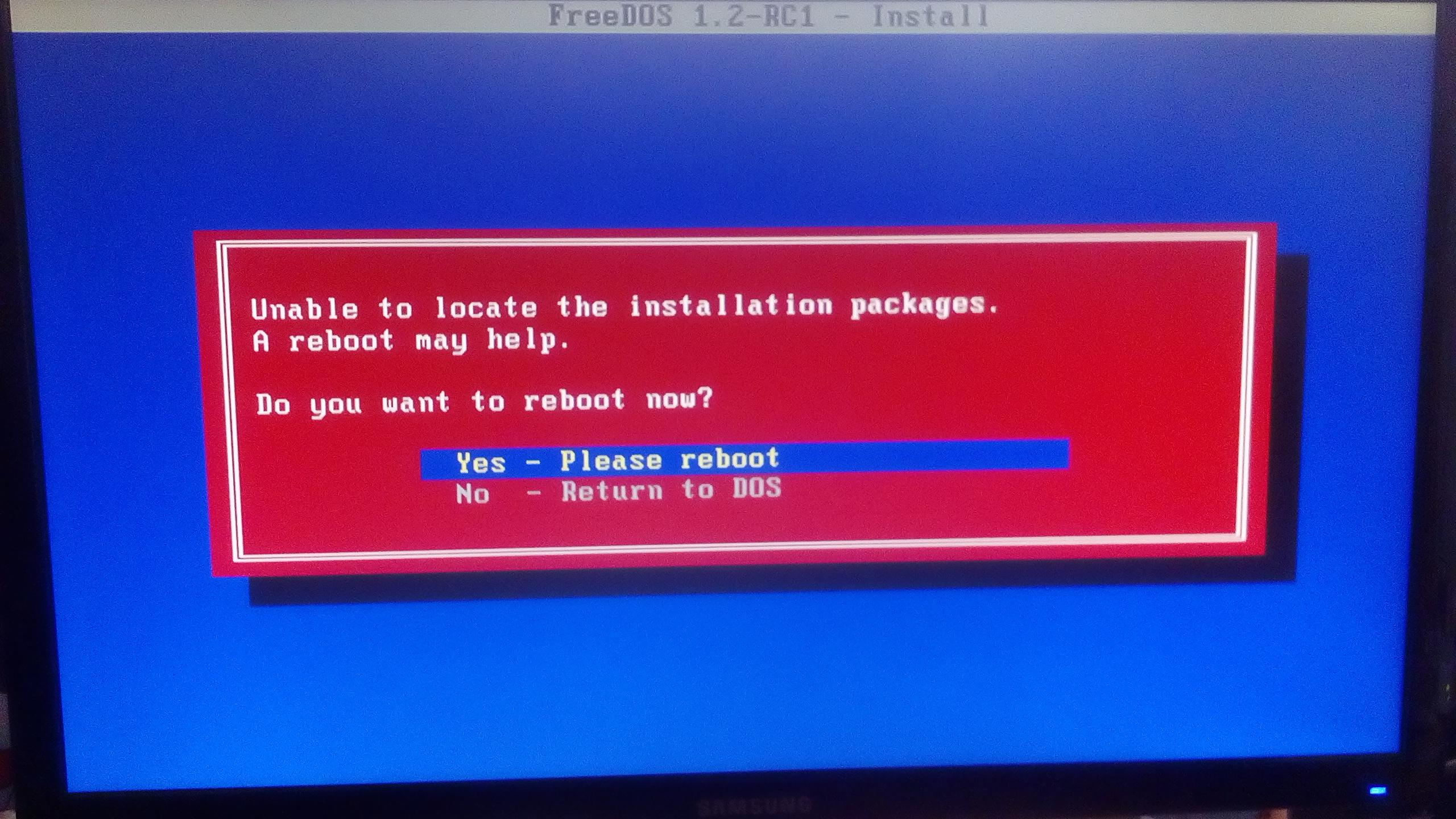 The FreeDOS Project / Bugs / #158 unable to locate the