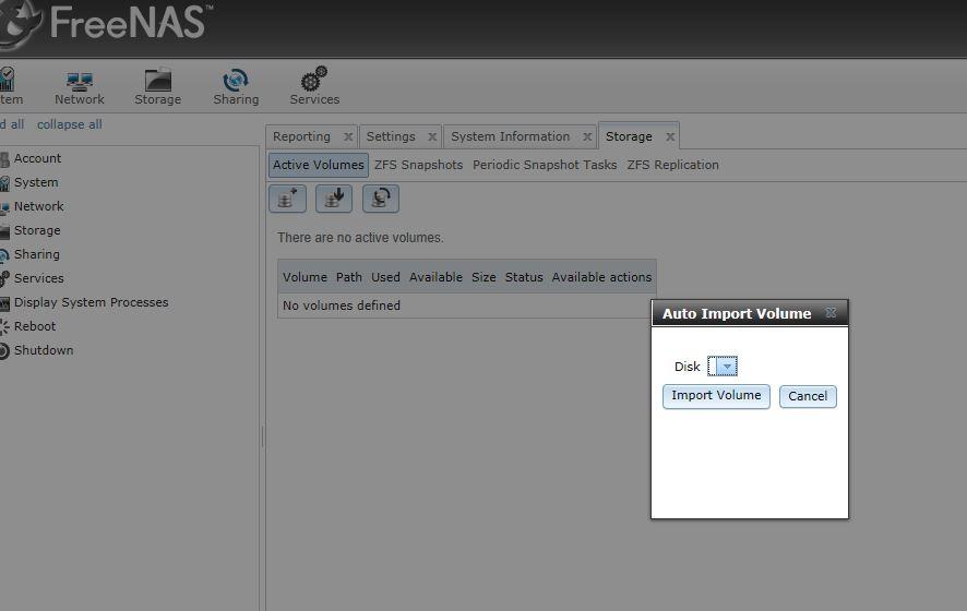 FreeNAS / Bugs / #886 Beta4 fails to import volumes