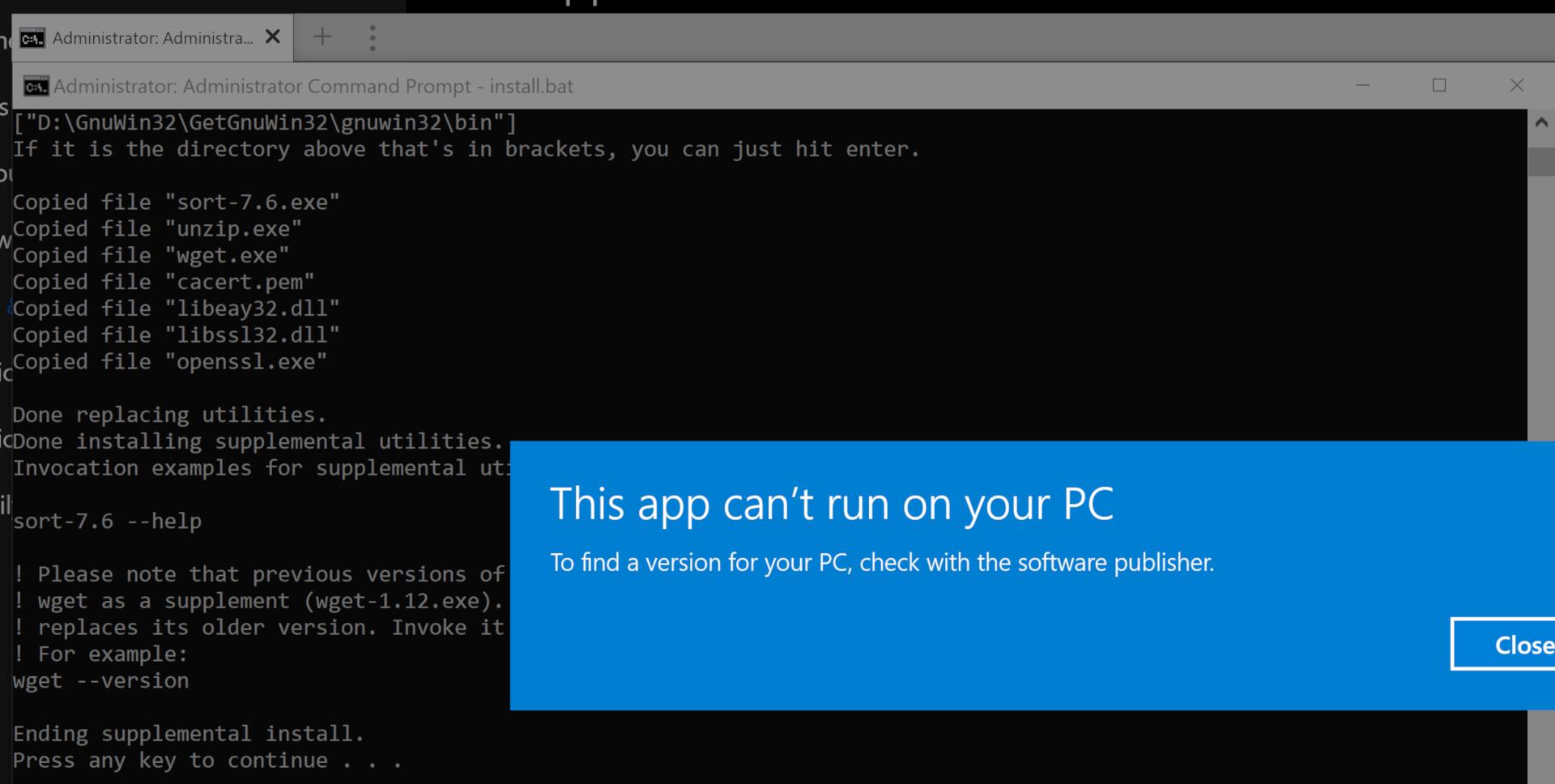 GnuWin32 / Bugs / #32 On Windows, install bat keeps trying
