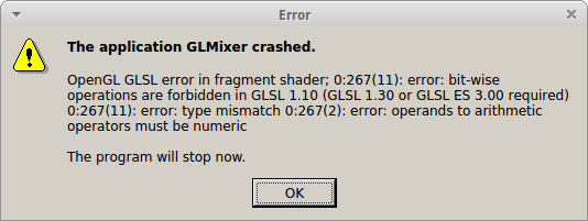 GLMixer / Tickets / #13 Crashes w/GLSL Error - GLMixer will