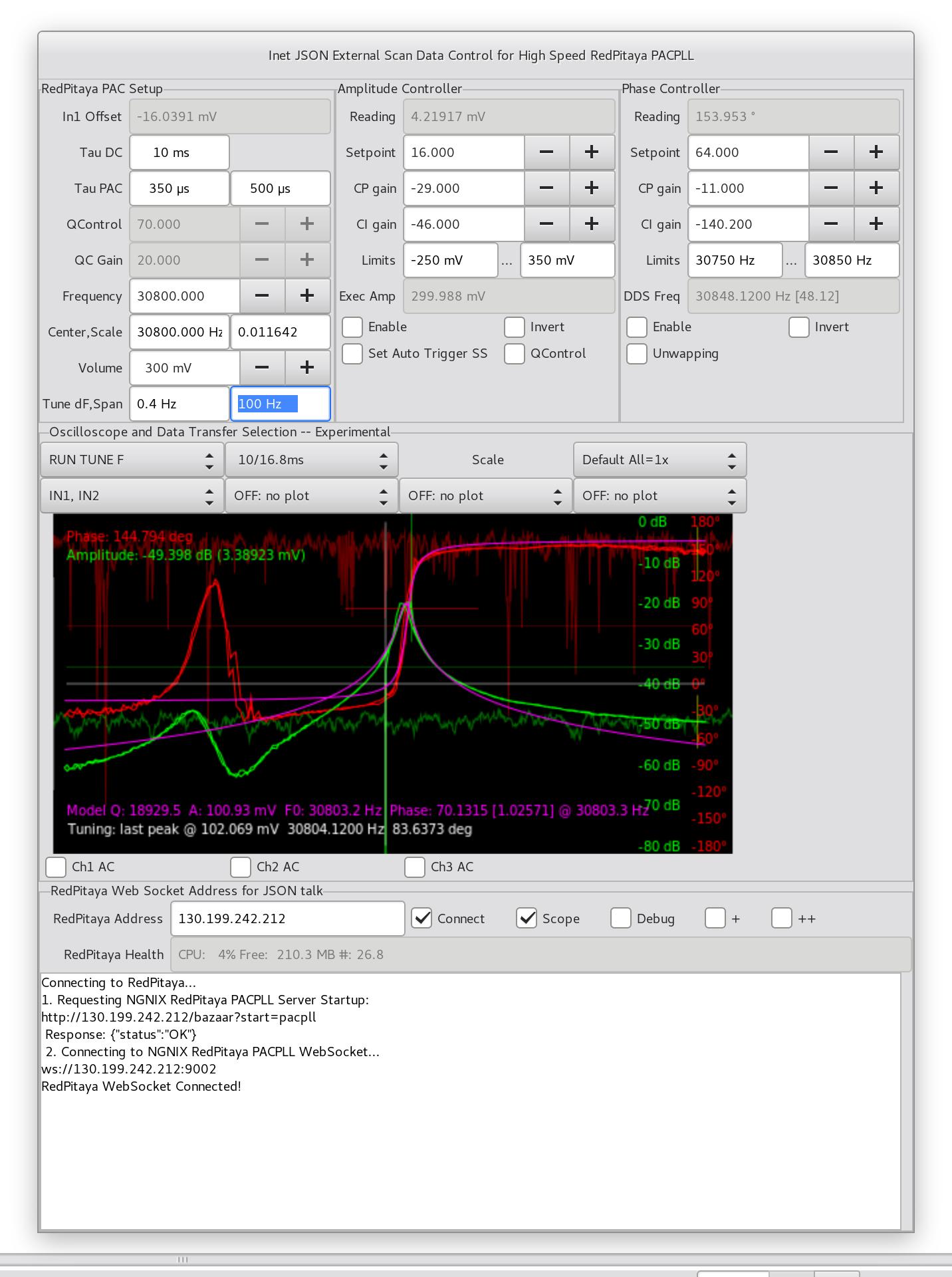GXSM / News: Inet Json RedPitaya Plugin: add resonance curve