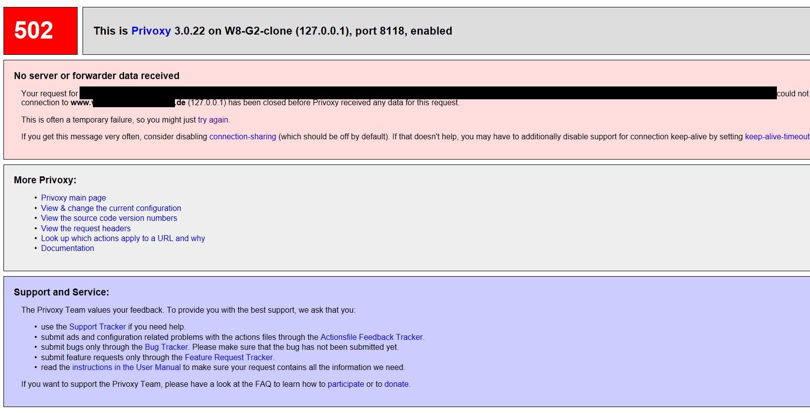 Privoxy / Support Requests / #1686 Error 502 often