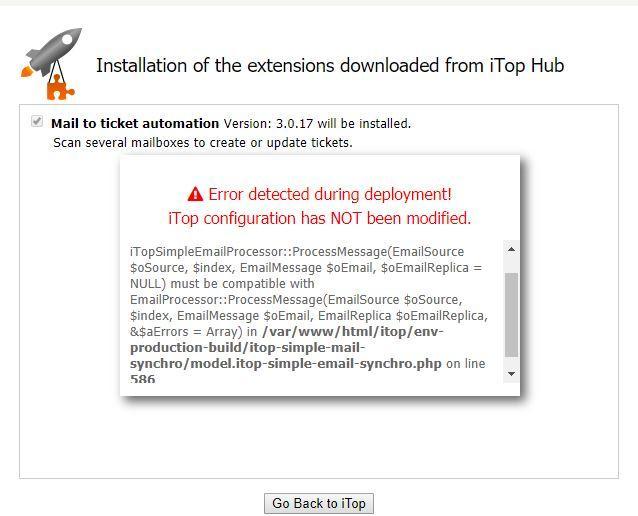 itop - ITSM & CMDB OpenSource / Tickets / #1750 Error Deploy