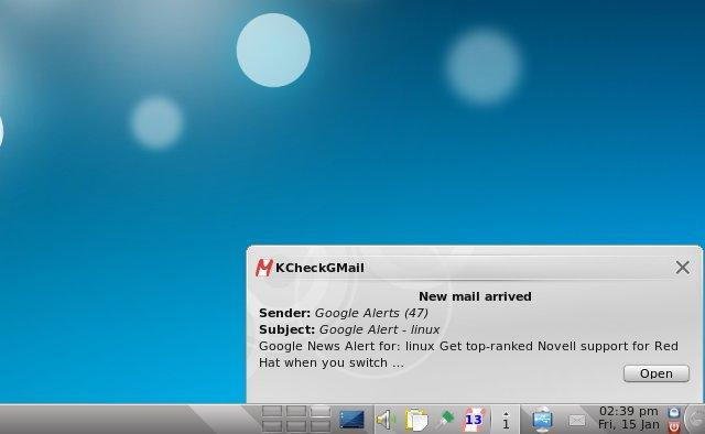 Screenshot of KCheckGMail