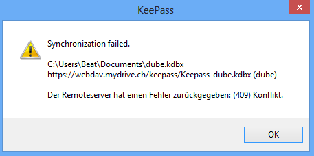 KeePass / Bugs / #1067 Synching fails with an 409 error