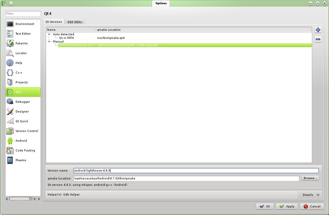 Доступны sdk (сборка пре-qt48 и qtcreator с плагином для работы с андроидом) и либы qt4 в