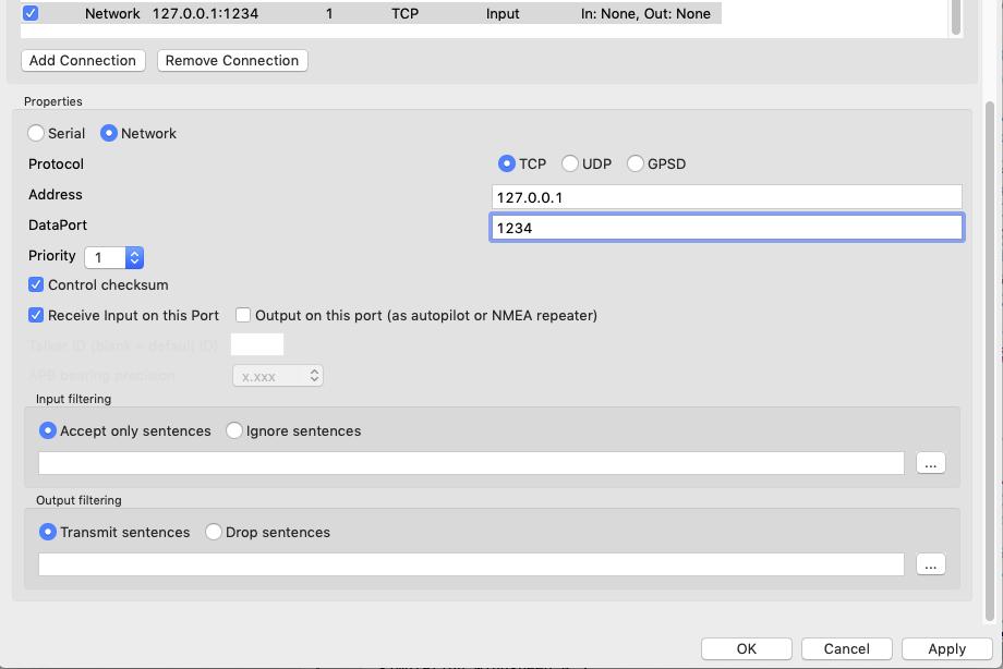 NMEA Vessel Simulator in Java / Tickets / #4 OpenCPN 4 8 8