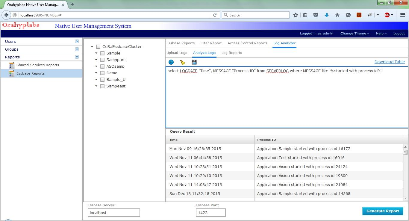 NUMSys Web / Documentation / Essbase Reports