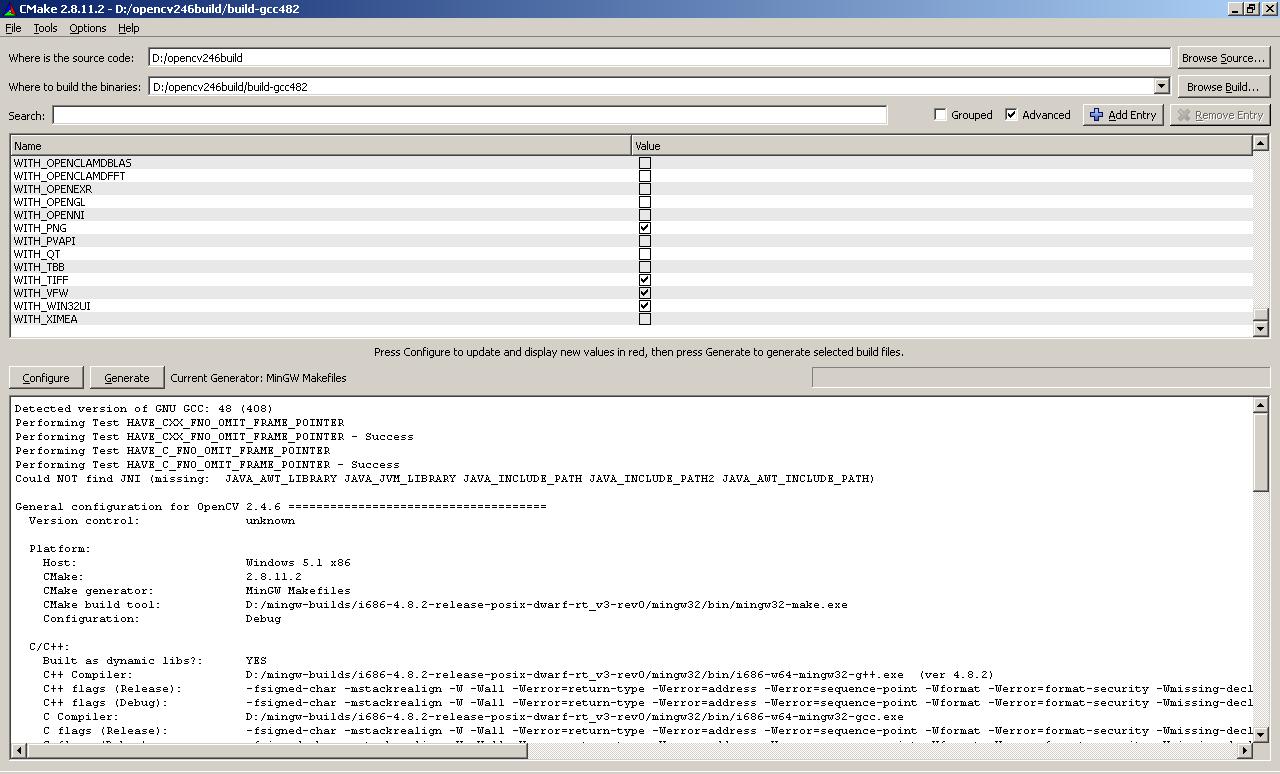 opencvmingw / Wiki / Build OpenCV under MinGW