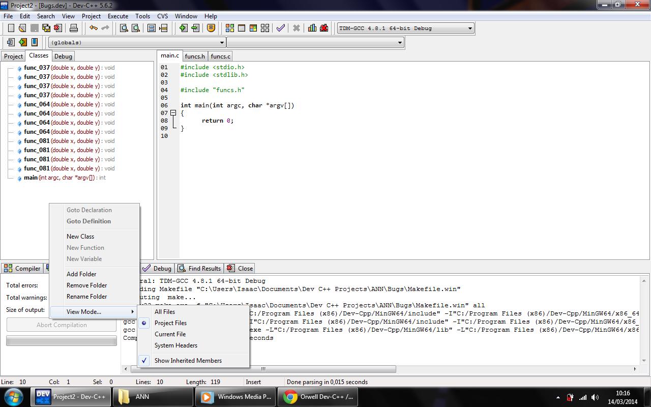 If function in dev c file