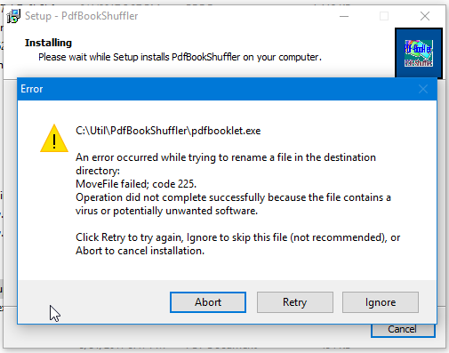 PdfBooklet / Bugs / #14 Malware in  exe 3 0 4