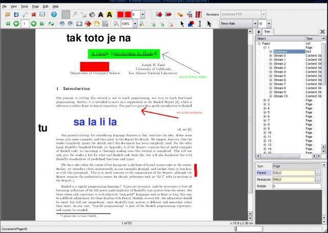 Pantalla: PDFedit Editar Texto