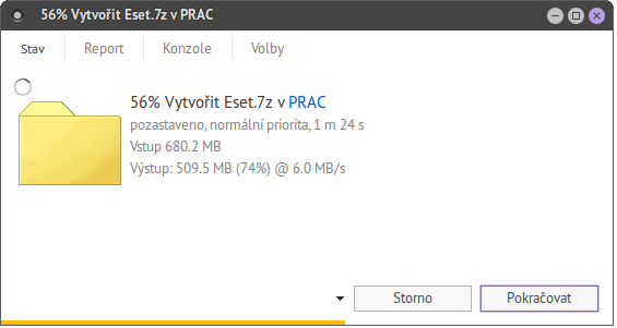 PeaZip / Tickets / #423 Bug in percentage in GUI