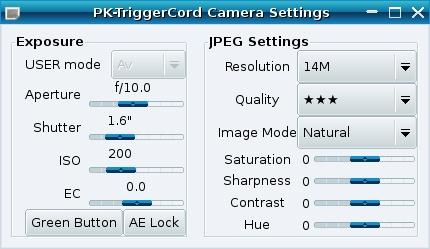 pktriggercord camera settings