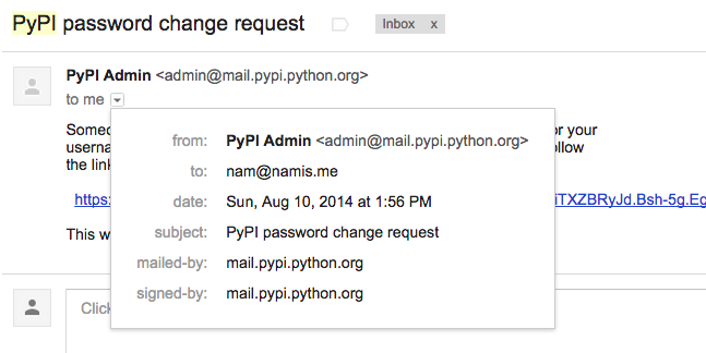 Python Package Index / Support Requests / #503 Password reset email