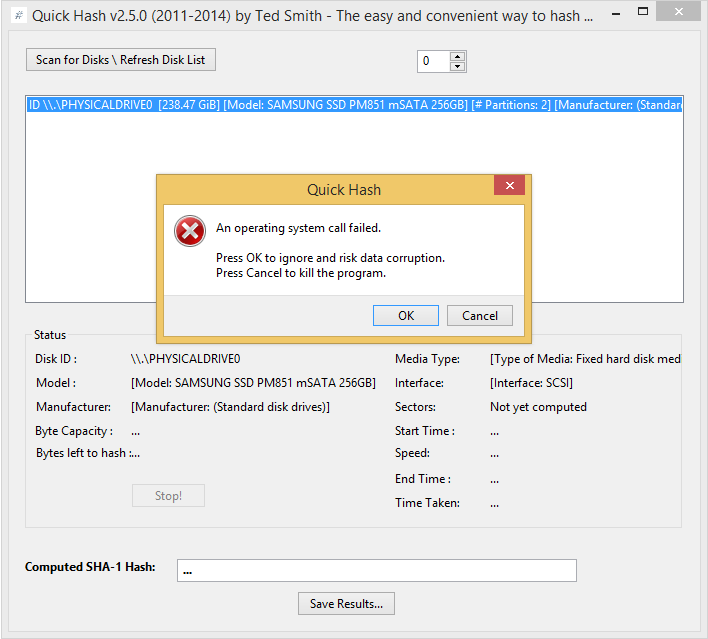 Quick Hash GUI / Tickets / #1 Certain functionality crashes