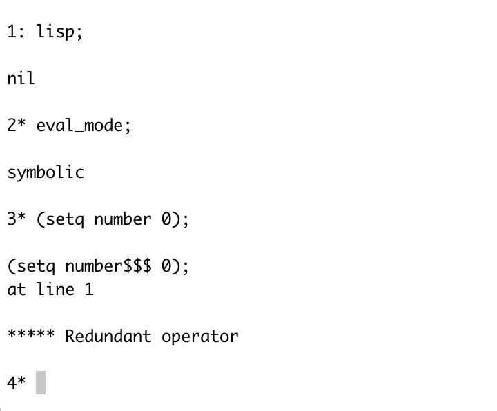 REDUCE / Discussion / Help:Lisp: redundant operator