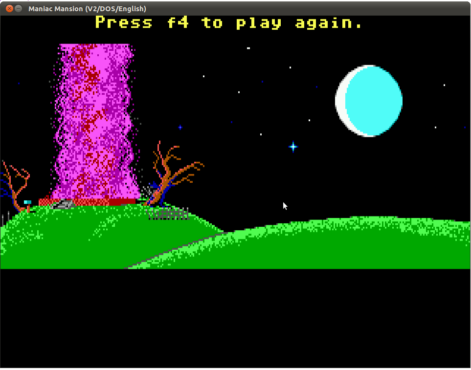 ScummVM / Bugs / #5895 SCUMM: MM - F4 Restart after blowing
