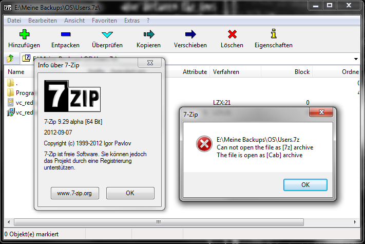 7 Zip Bugs 1328 Can Not Open The File As 7z Archive