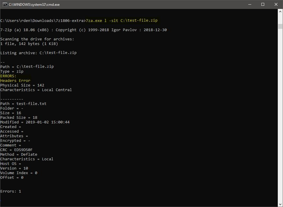 7zip unzip command windows