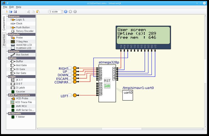 simutron / Wiki / LCD 16 X 4 menu example