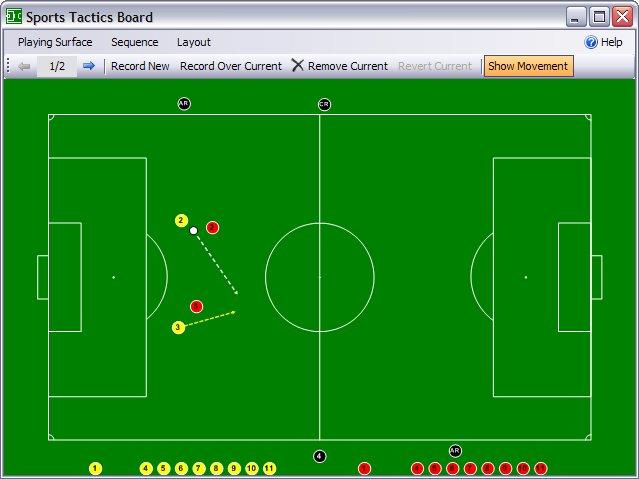 Screenshot: Soccer field showing player and ball moving