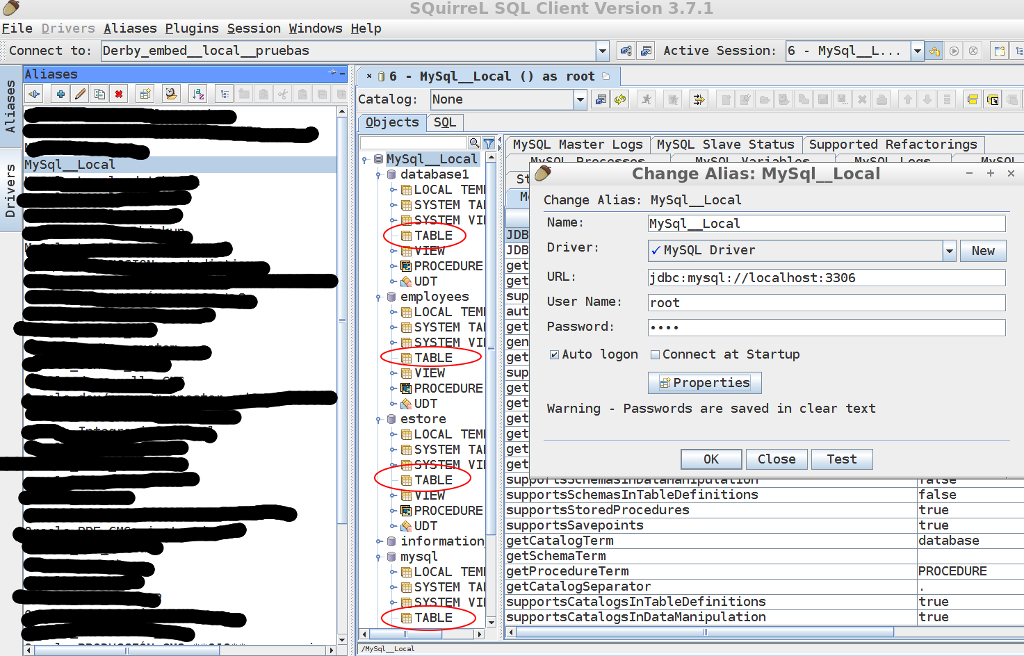 SQuirreL SQL Client / Bugs / #1315 MySQL: in Object View and