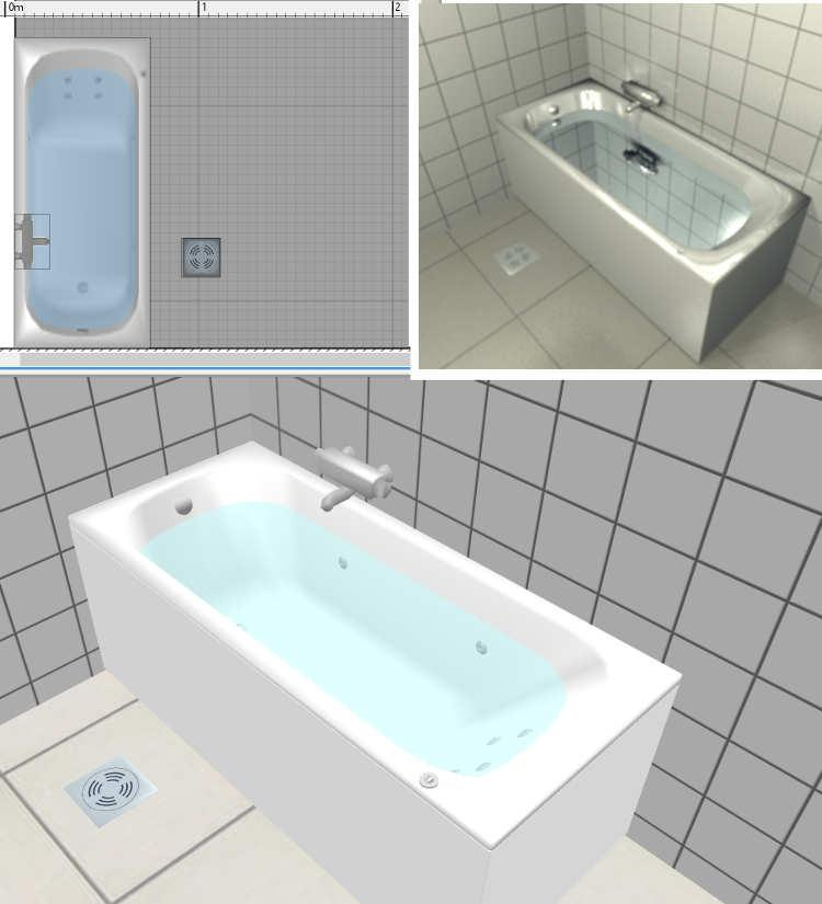 Sweet Home 3D / 3D Models / #370 Bathtub jet system massage bath