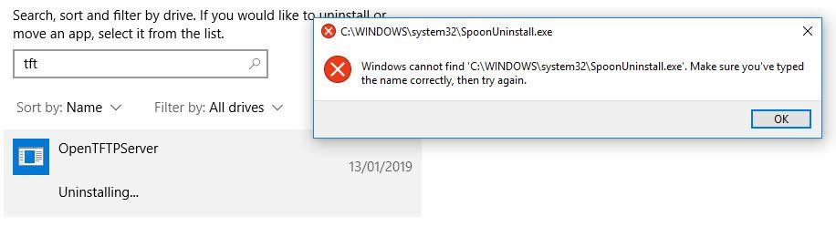 Open TFTP Server / Discussion / Help:Unable to uninstall on